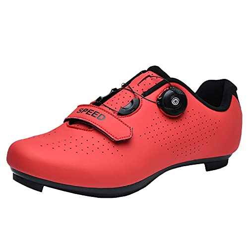 KUXUAN Zapatillas de Ciclismo para Hombre Mujer Spin Shoestring con Tacos Compatibles Peloton Shoe Lock Pedal Bike Shoes,Red-44EU