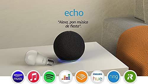 Echo (4.ª generación) | Sonido de alta calidad | Antracita + TP-Link Tapo Bombilla Inteligente (E27), compatible con Alexa