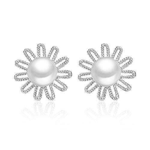 QYTSTORE 925 Pendientes de Plata de la Perla de la Margarita de la Plata esterlina 925, tamaño: 1.2 * 1,2 cm, Joyas de Plata esterlina para Pendientes de niñas Exquisito, de Moda