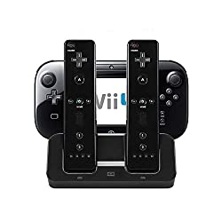 in budget affordable eLUUGIE3-in-1 Charger Wii U Charging Dock Base Gamepad Charging Stand With Gamepad…