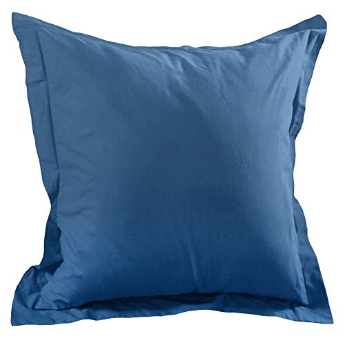 Lovely Casa T14820012 Alicia Taie avec Volant Coton Bleu 65 x 65 cm