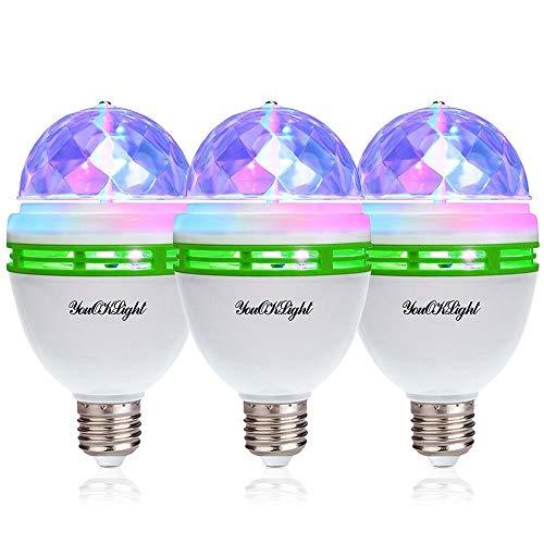 YouOKLight ミニレーザーステージ照明 カラフルミラーボールLED電球 口金直径26mm 3W RGB ステージ/ディスコ/パーティー/KTV/カラオケ/クラブ/バー照明用ライト 3個入