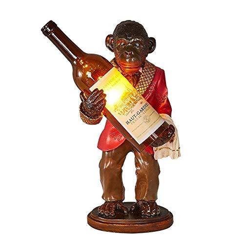 Candelabro Industrial Creativo Orangutanes Lámpara de Mesa Personalidades Mono Luces de Escritorio Resina Artesanía Arte Botella de Vino Estudios Bares Dormitorios Lámparas Vintage Moda Escritorio