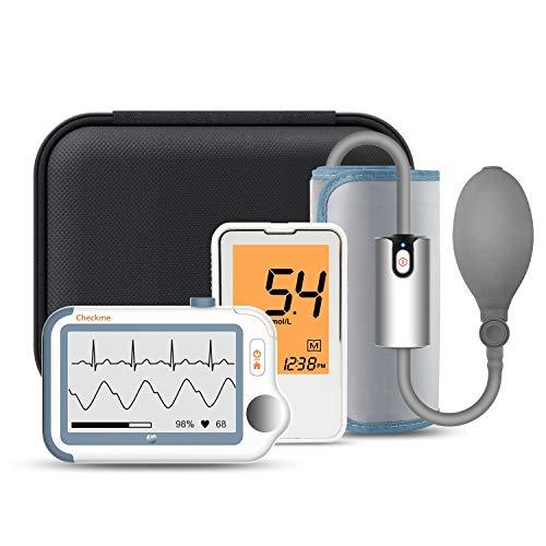 Wellue Checkme Pro Suit Monitor ECG Portatile, Monitor Multiparametrico con APP Bluetooth e Report PC, e Monitor della Pressione Sanguigna, della Glicemia, Monitor SpO2, per Uso Domestico