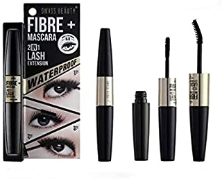 Swiss Beauty Fibre + Mascara 2 in 1 Lash Extension, Black, 4.5g + 1.2g