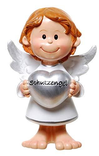 bb10 Deko Engelfigur mit silbernen Herz und Aufschrift Schutzengel 10,5 cm groß sehr massiv