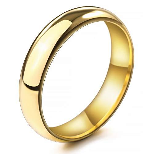 MunkiMix Ancho 5mm Acero Inoxidable Anillo Ring Banda Venda Oro Dorado Tono...