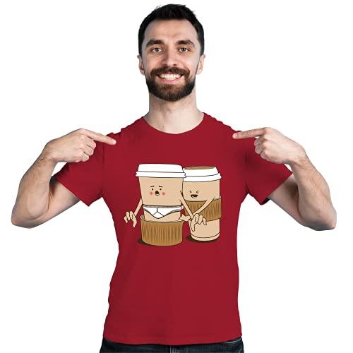 Kaffeebecher Kaffee Coffee - Hose runter T-Shirt Freizeitshirt lustig Kurzarm Herrenshirt Männershirt   11 Farben   S-XXL   100% Baumwolle (Cardinal red, L)