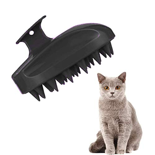 FayTun - Spazzola da bagno per gatti con setole ultra in silicone, per la cura e lo spargimento dei gatti, spazzola per massaggi, per la toelettatura dei gatti (viola) (nero)