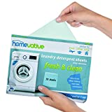 Homevative Laundry Detergent Sheets, Easy dissolve, 30 sheets, Fresh & Clean scent, Eco-friendly package, Great for travel, college, laundromat and at home, Compatible with HE machines