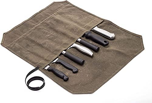 QEES Bolsa para cuchillos de chef con 7 ranuras, lona encerada, funda para cuchillos de chef, bolsa...