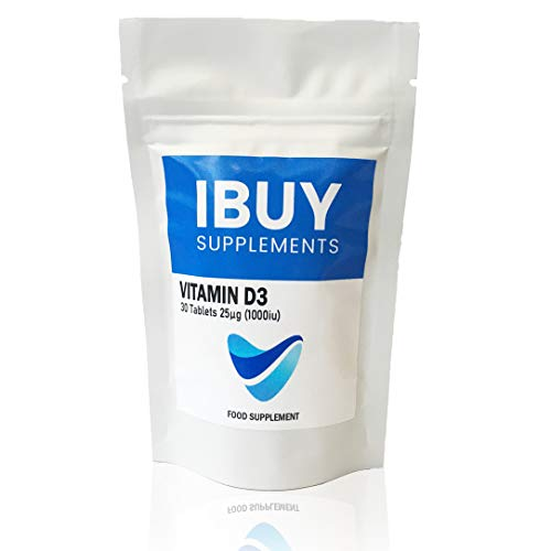 Vitamin D 1000IU Tablets | 30 Vitamin D3 Supplement | Immune Support - 25 Micrograms Easy Swallow | UK Made