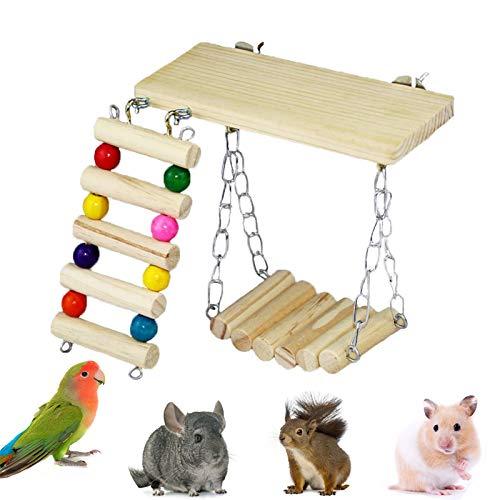 SKXZK 3 Piezas/Juego Loro de Madera Hamster Toys,Juego de Plataforma de Escalera Pequeños,Juguete de Madera del Soporte del Columpio de la Escalera para Loro Chinchilla