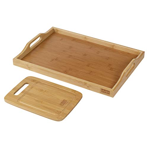 Jubykitchenware Bamboo Tray with Bonus Cutting Board - Breakfast, Lunch, Dinner Wooden Serving Trays for Coffee Table, Ottoman, Bed - Durable and Decorative Kitchen, Bathroom, Vanity Drawer Organizer