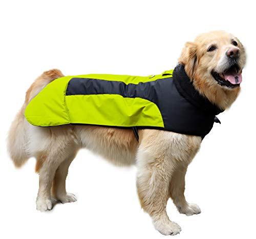 Abrigo Chaqueta para Perro, Caliente para Mascotas, Chaqueta Chubasquero Impermeable de Invierno, Cazadora Perro con Forro Polar, Ropa para Perro. (7L, 1206 Amarillo)