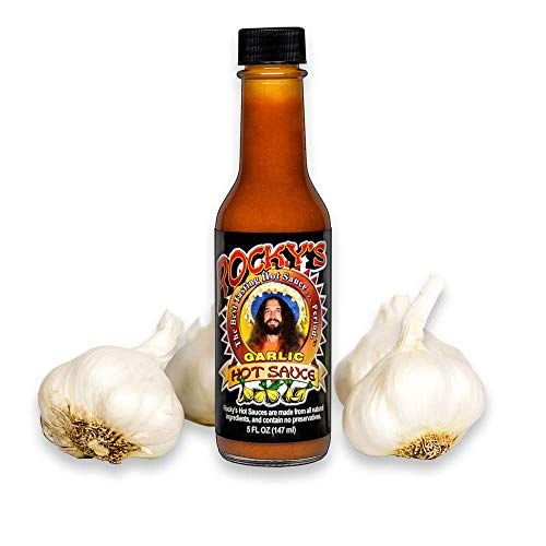 Rocky's Garlic Hot Sauce – Gourmet Red Chili Garlic Sauce with Perfectly Balanced Heat – Great Hot Sauce Gift and Wing Sauce - 5 oz