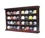 Pocket Size Mini Football Helmet Display Case Cabinet Holders Rack w/UV Protection (Mahogany Finish)