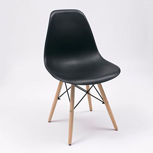 Homely Silla de Cocina/Comedor de diseño nórdico-Scandi, Inspiración Silla Tower (Negro)