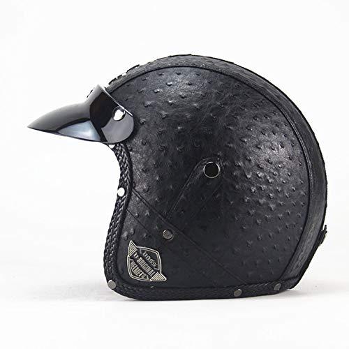 IAMZHL Helme 3/4 Motorrad Fahrradhelm Vintage Motorradhelm mit offenem Gesicht und Schutzbrillenmaske-VS Personality black-3-M