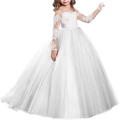IWEMEK Vestido de Niña de Flores de Appliques de Cordón Tul Princesa...