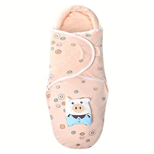 Newborn Baby Winter Thick Double Warm Cold-Proof Cotton Sleeping Bag Stroller Wearable Blanket (Orange(Piggy), 3-6 Months)