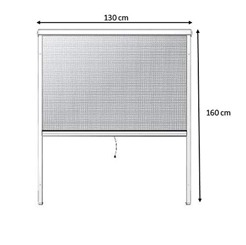 PALMAT Moustiquaire Ajustable pour fenêtre – empêche Les intrusions d'Insectes (130 x 160 x 5 cm, Blanc)