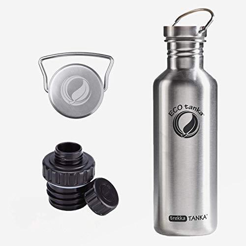 ECOtanka trekkaTANKA 1l/1000ml, Edelstahl-Trinkflasche, Reduzier & Wave-Verschluss – Öko, robust und super leicht, die Flasche für Dein aktives Leben