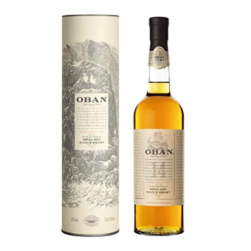 Oban 14 anni Scotch Whisky Single Malt – Whisky Scozzese torbato, puro malto – Delicatamente affumicato dal gusto equilibrato e ricco – In confezione regalo – 1 x 70 cl