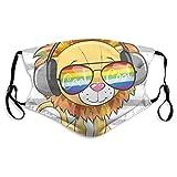 Lindo león con gafas de sol cara cubierta lavable reutilizable anti polvo con 2 filtros máscara de la boca bufanda