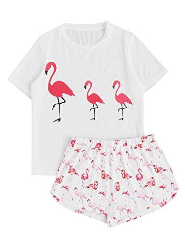 DIDK Damen-Pyjama-Set mit süßem Cartoon-Aufdruck und Shorts - Wei� - Medium