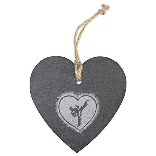 Azeeda 'Karate Heart Boy' Slate Heart Hanging Decoration (HE00014135)