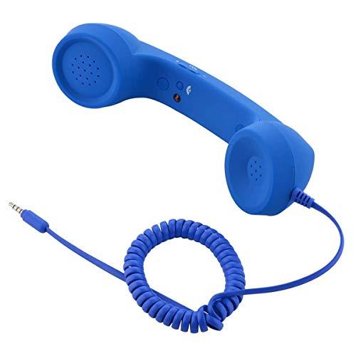 Kuinayouyi Vintage Retro Teléfono Auricular Receptor de teléfono celular Micrófono MIC para teléfono celular Smartphone, 3.5 mm Socket (Azul)