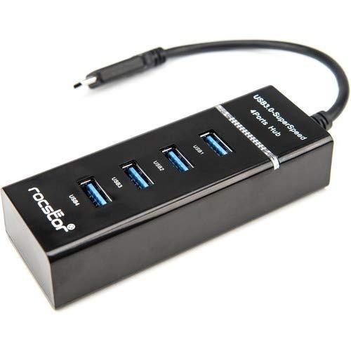 Purchase Rocstor Premium Slim Portable 4 Port Hub - USB-C to 4x USB-A Slim Hub - USB 3.0 Hub - Bus P...