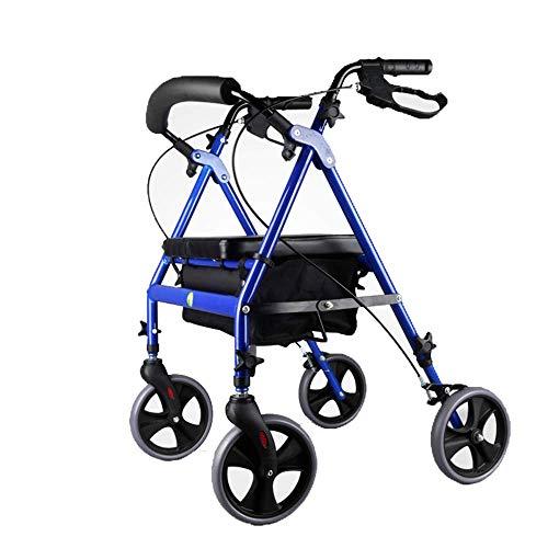 Elektrischer Rollstuhl Tragbarer Rollator Walker mit Sitz, Rückenlehne und 8-Zoll-Rädern, blau