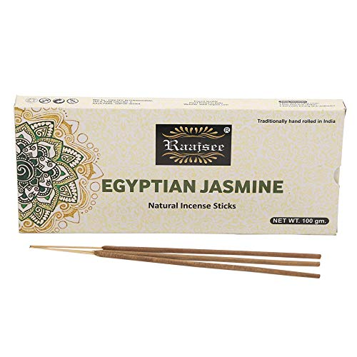 Raajsee Jasmine Flower Natural Incense Sticks 100 Gm Pack-100% Pure Organic Natural Hand Rolled Free from Chemicals-Perfect for Church,Aroma Therapy,Relaxation,Meditation,Positivity,Healing 100gm Pack