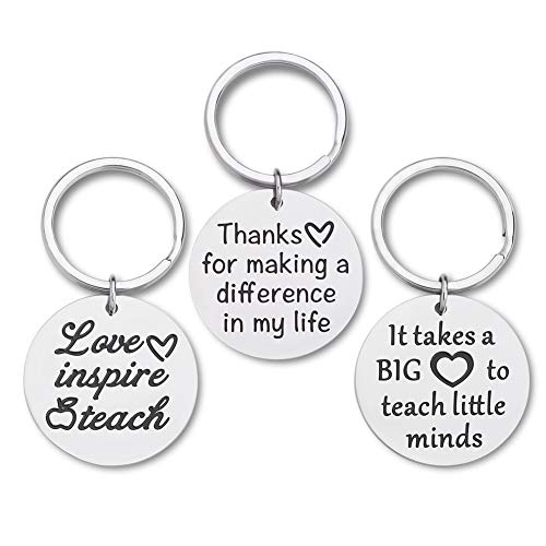 Teacher Appreciation Gifts for Women Coach Tutors Keychain 3 Pcs Bulk Graduation Teacher Valentine Gifts for Birthday Thank You Goodbye Farewell Gifts Key Ring for Men Teachers Principal