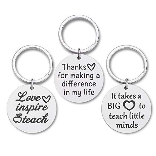 Teacher Appreciation Gifts for Women Coach Tutors Keychain 3 Pcs Bulk Graduation Teacher Valentine Gifts for Birthday Thank You Goodbye Farewell Gifts Key Ring for Men Teachers Principal