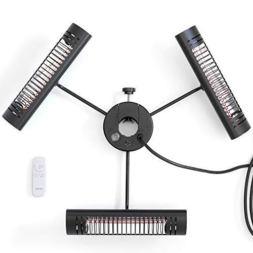 VASNER Umbrella X30 - Infrarot Heizstrahler für den Gastro- & Sonnenschirm, 3000 Watt, Infrarotstrahler für Terrasse, Garten & Außenbereich (Ø 20-55 mm, Schwarz)