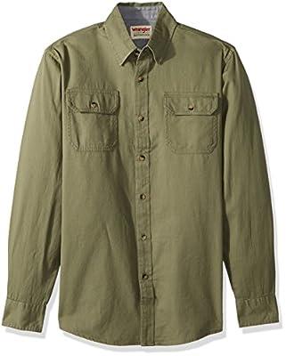Wrangler Authentics Men's Long Sleeve Classic Woven Shirt, burnt olive, 2X-Large