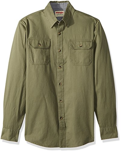 Wrangler Authentics Men's Long Sleeve Classic Woven Shirt, burnt olive, XL