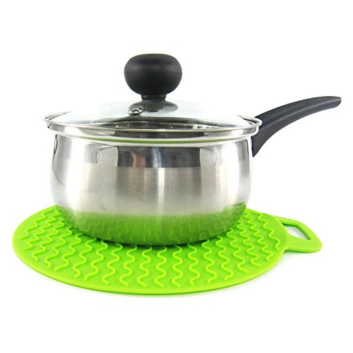 HornTide Silicone Potholders Presine Calore resistente Trivet Mat Resistere 230 ° C 446 ° F Pads di protezione 23 centimetri Set di 2 Multiuso per Kitchen & Dining (Stile A, Verde)