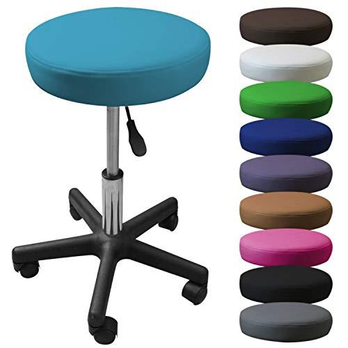 Vivezen ® Tabouret rond à roulette réglable en hauteur de 45 à 62 cm et pivotable à 360° - 10 coloris - Norme NF EN 1022