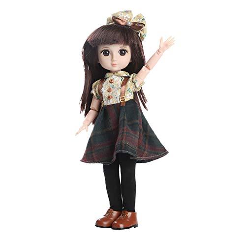 perfeclan Mädchen Kugelgelenk Puppe für 1/6 BJD Doll, 36cm schöne Puppen mit handgemachter Kleidung - Kinder Geschenk Spielzeug - B