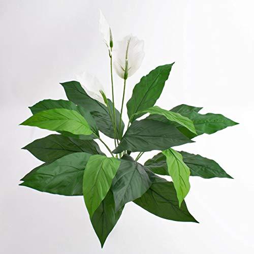 artplants.de Spathiphyllum Artificiale, Bianco, 3 Fiori, 17 Foglie, con Gambo Artificiale, Deluxe, 70cm - Spatifillo Decorativo/Pianta da Interni