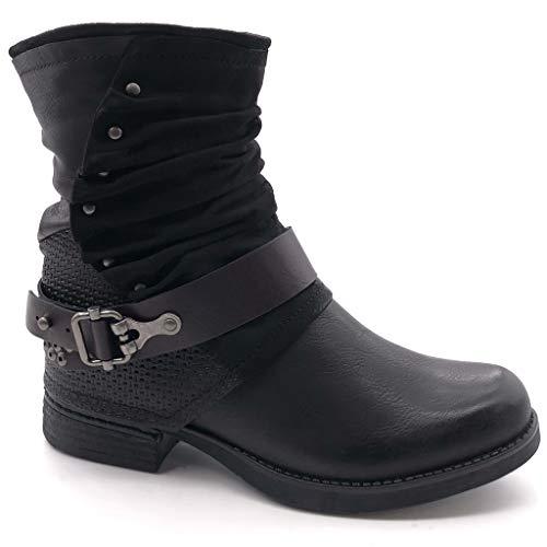 Angkorly - Damen Schuhe Stiefeletten - Biker - Reitstiefel - Kavalier - Vintage-Stil - Geflochten - String Tanga - Nieten - besetzt Blockabsatz 2.5 cm - Schwarz F2155 T 38