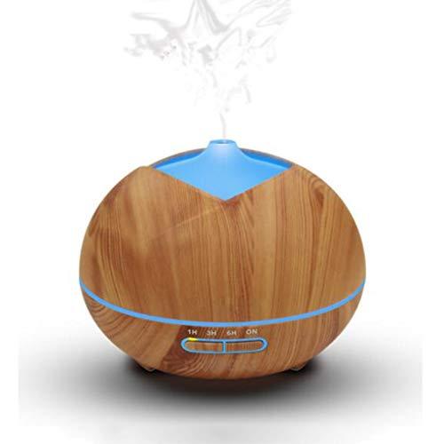 Houten korrel luchtbevochtiger, aromatherapie luchtbevochtigers verdamper, zeven soorten kleuren, s nachts licht LED, automatisch uitschakelen zonder water, 400 ml, Home Office Slaapkamer Yoga Spa, 1