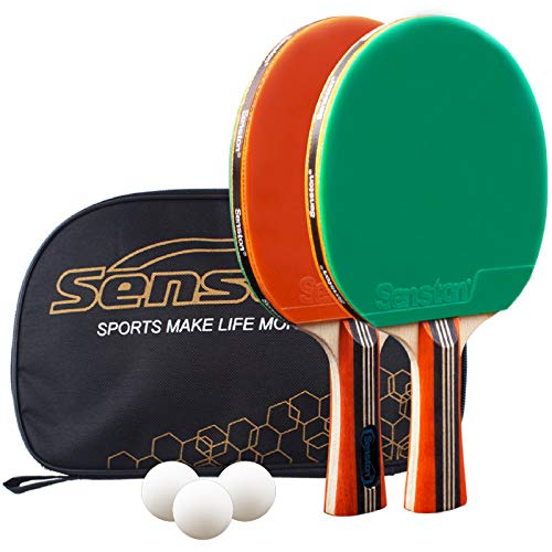 Senston Palas Ping Pong,Pelotas Ping Pong Set , 2 Raquetas de Tenis de Mesa + 3 Pelotas + 1 Bolsa,el Entrenamiento/Kit de Raqueta recreativa