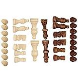 Garosa 32PCS Pezzi degli Scacchi in Legno, Solo Pezzi degli Scacchi in Legno, Figure Gioco degli Scacchi pedine Pezzi Figurine Gioco di Scacchi Internazionale Standard in Legno