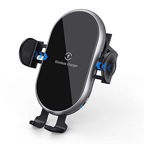 15W Rápido Cargador Inalámbrico Coche,Qi Wireless Car Charger Soporte con Bloqueo Automático Rápida iPhone 12 Pro MAX Mini 11/XS MAX/XR/8/7,Galaxy S20/S10/P20 Note 9/S9,Huawei y Otros