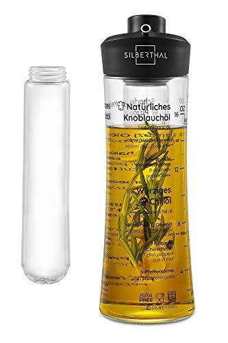 SILBERTHAL Ölflasche mit Siebeinsatz und Ausgießer - Öl zum Selbermachen mit Rezeptideen - Öl- und Essigspender aus Glas - 500 ml
